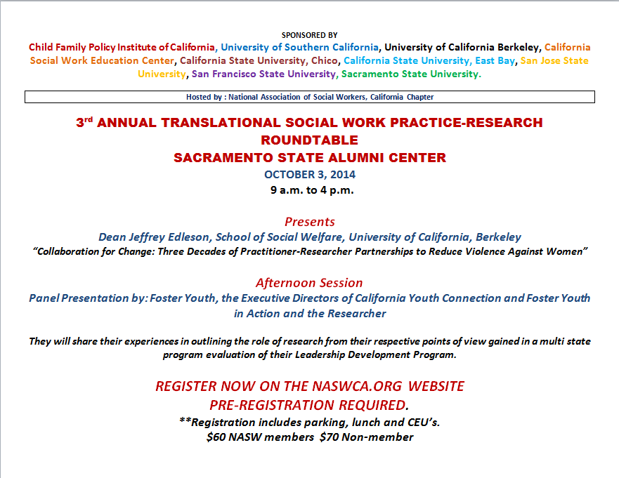 Sac State Round Table.3rd Translational Social Work Practice Research Roundtable