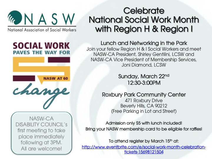 regions h and i celebrate social work month with lunch event