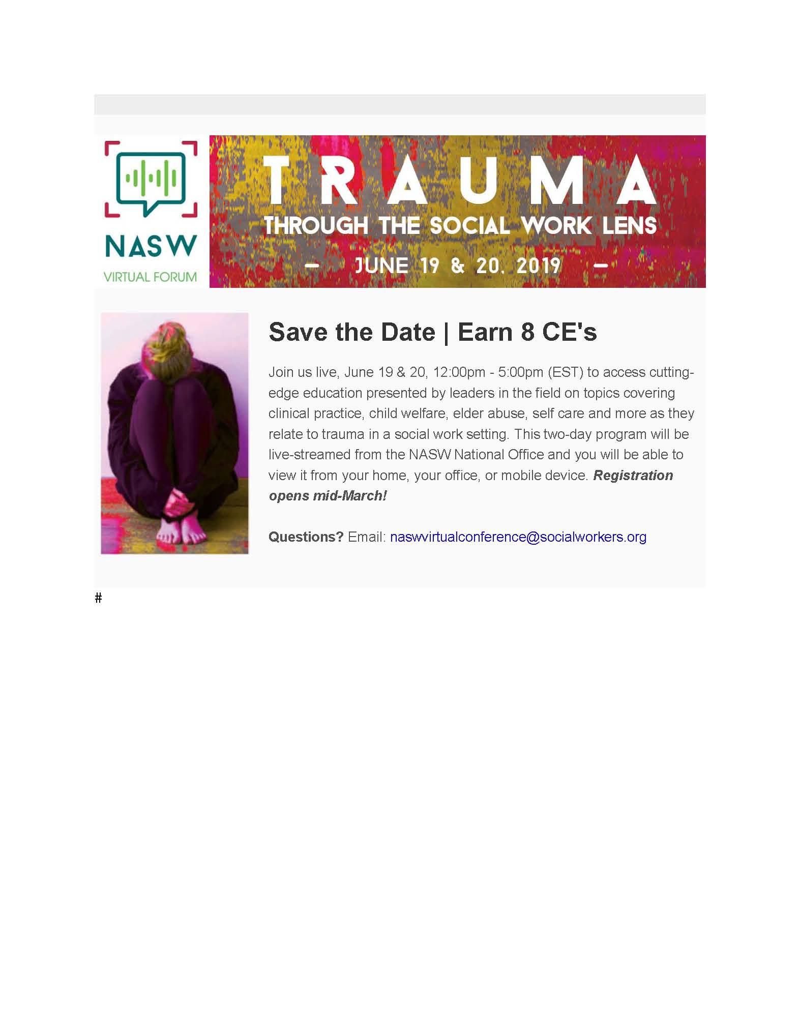 Event: Trauma — Through the Social Work Lens | NASWCANEWS ORG